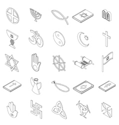 Religious symbols icons set isometric 3d style vector image