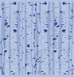 repeated seamless pattern blue birch trees vector image