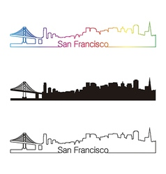 San Francisco skyline linear style with rainbow vector image