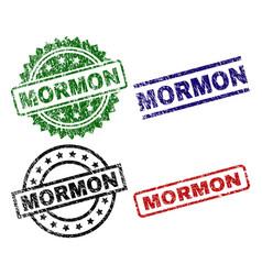 Scratched textured mormon stamp seals vector