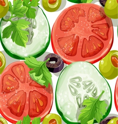 Seamless ornament delicious slices of Vegetables vector image