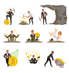 Set of business people extracting cryptocurrency vector