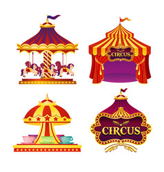 set of carnival circus emblems vector image