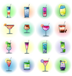 set of cocktails on a color background vector image