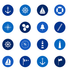 Set of sea icons on color background vector