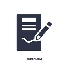 Sketching icon on white background simple element vector