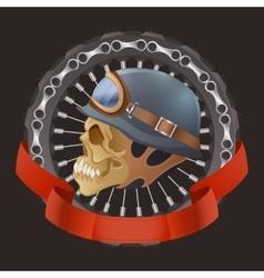skull motorcyclists with helmet vector image