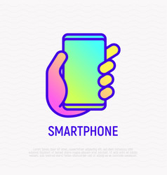 smartphone in hand thin line icon vector image