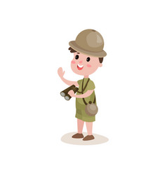 smiling cartoon boy scout character standing with vector image