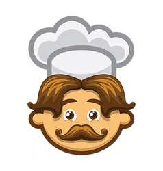 Smiling cook with mustache and chefs hat vector