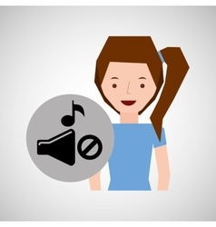 smiling girl music no volume note vector image