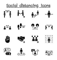 Social distancing icon set graphic design vector