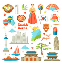 South korea icons set korean traditional symbols vector