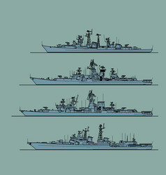 soviet cold war navy anti-submarine frigates vector image