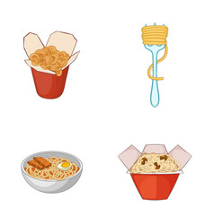 spaghetti icon set cartoon style vector image