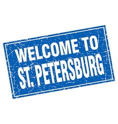 St Petersburg blue square grunge welcome to stamp vector