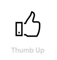 thumb up hand gesture icon editable line vector image
