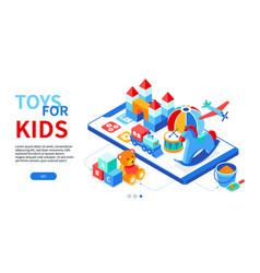 toys for kids - modern isometric web banner vector image