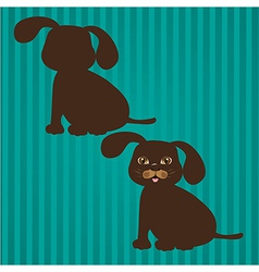 two types of dog silhouettes on a background of li vector image