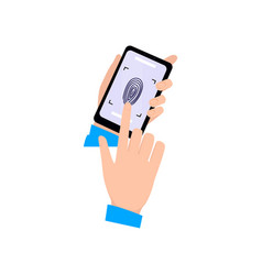 use fingerprint to unlock modern smartphone human vector image