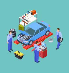 Venicle service isometric car repair balancing vector