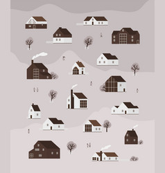 vertical monochrome banner with living houses vector image
