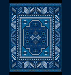 Vintage carpet with ethnic ornament in blue shades vector