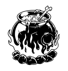 vintage halloween concept cauldron vector image