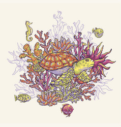 Vintage sea life natural greeting card underwater vector