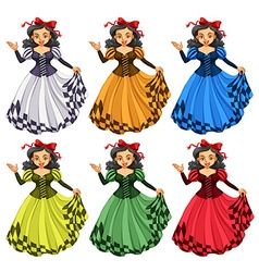 Woman in different color dress vector