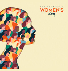 Womens day 8th march woman head paper cut card vector