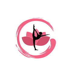 Yoga woman silhouette lotus flower with zen logo vector