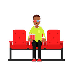 young man sitting in the cinema with popcorn and vector image