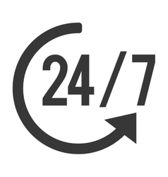 24 7 with arrow icon vector image
