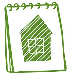 A green notebook with a drawing of a green house vector image vector image