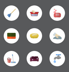 Flat icons besom mopping sponge and other vector