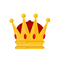 gold king crown flat cartoon vector image