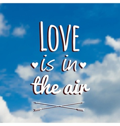 blurred with clouds blue sky and text Love vector image vector image