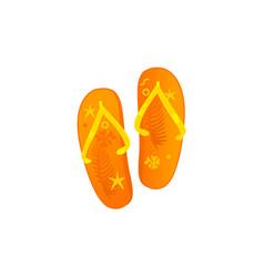 flat beach slippers flip flops icon vector image vector image