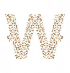 floral letter w ornament font vector image vector image