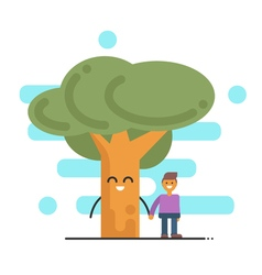 happy tree and young man holding hands concept of vector image