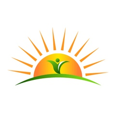 Plant in sunrise logo vector