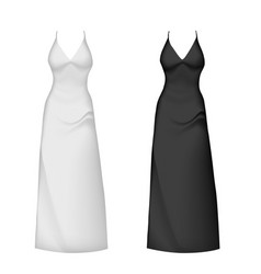 realistic evening dress mockup black white vector image vector image