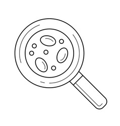 bacteria under magnifying glass line icon vector image vector image