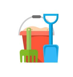 bucket rake and shovel with sand vector image vector image