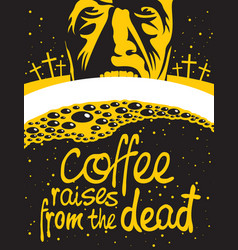 cup of coffee and zombie in the cemetery at night vector image vector image