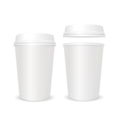 empty coffee paper cup with lid set vector image