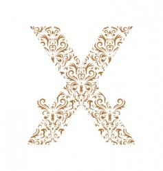 floral letter x ornament font vector image vector image
