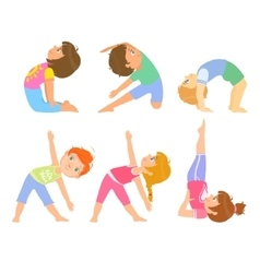 Kids Doing Simple Yoga Poses vector image