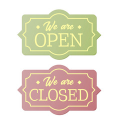 vintage open and closed business signs vector image